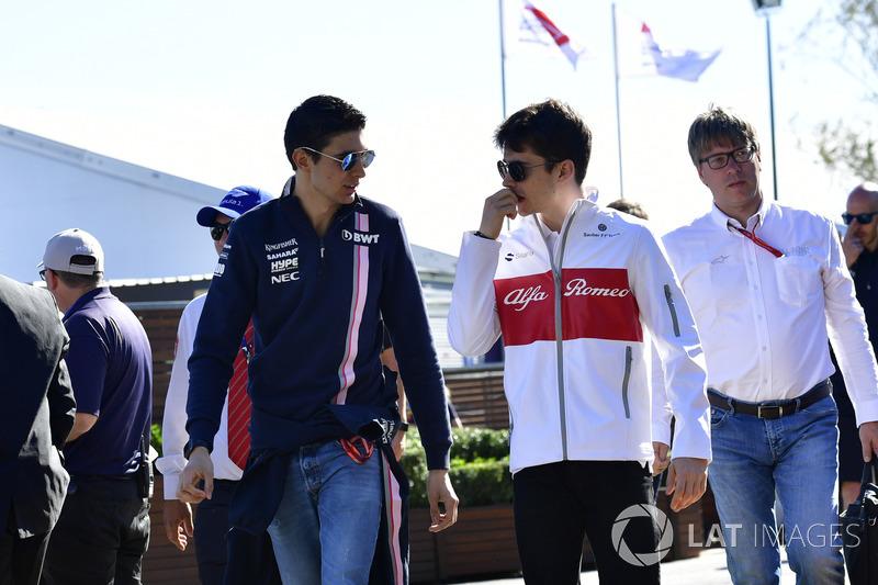 Esteban Ocon, Force India F1 and Charles Leclerc, Sauber