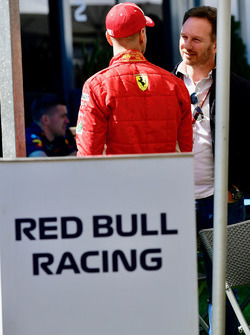 Sebastian Vettel, Ferrari and Christian Horner, Red Bull Racing Team Principal