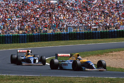 Alain Prost, Williams FW15C leads Damon Hill, Williams FW15C