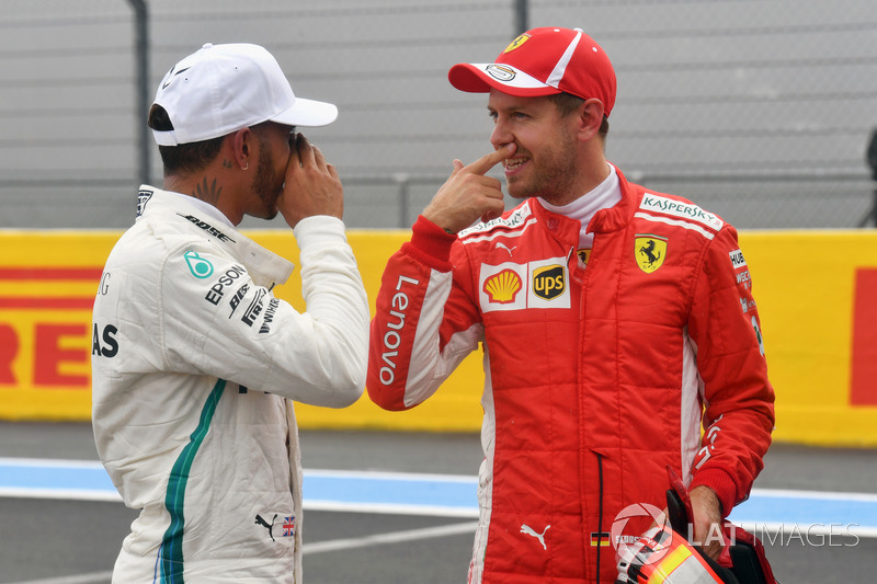 Lewis Hamilton, Mercedes-AMG F1 y Sebastian Vettel, Ferrari