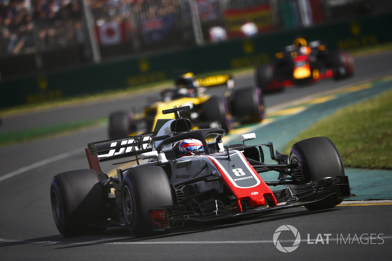 Romain Grosjean, Haas F1 Team VF-18 Ferrari, Nico Hulkenberg, Renault Sport F1 Team R.S. 18, y Daniel Ricciardo, Red Bull Racing RB14 Tag Heuer