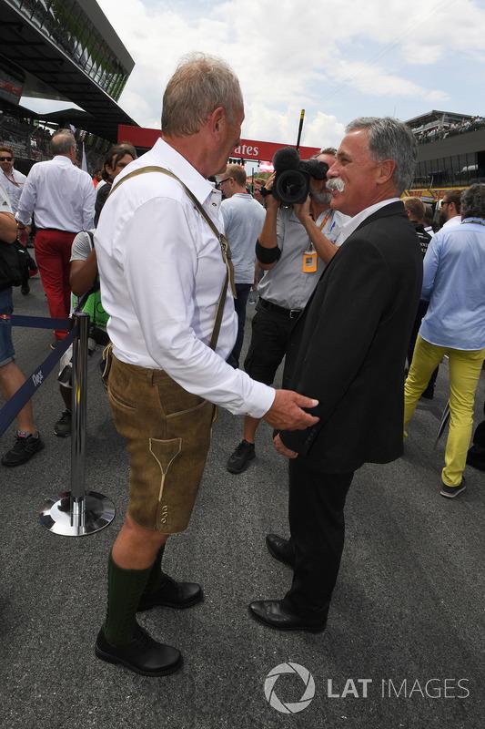 Хельмут Марко, консультант з питань автоспорту Red Bull, Чейз Кері, голова групи Формули 1