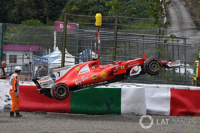 The crashed car of Kimi Raikkonen, Ferrari SF70H