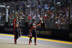 Daniel Ricciardo, Red Bull Racing and Max Verstappen, Red Bull Racing wave to the crowd in parc ferme