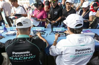 Mitch Evans, Panasonic Jaguar Racing and Nelson Piquet Jr., Panasonic Jaguar Racing sign autographs for fans at the autograph session