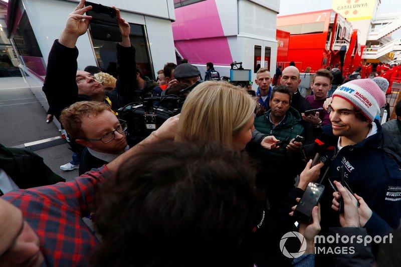 Lance Stroll, SportPesa Racing Point F1 Team talks with the media