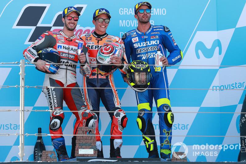 Podio: 1º Marc Marquez, 2º Andrea Dovizioso, 3º Andrea Iannone