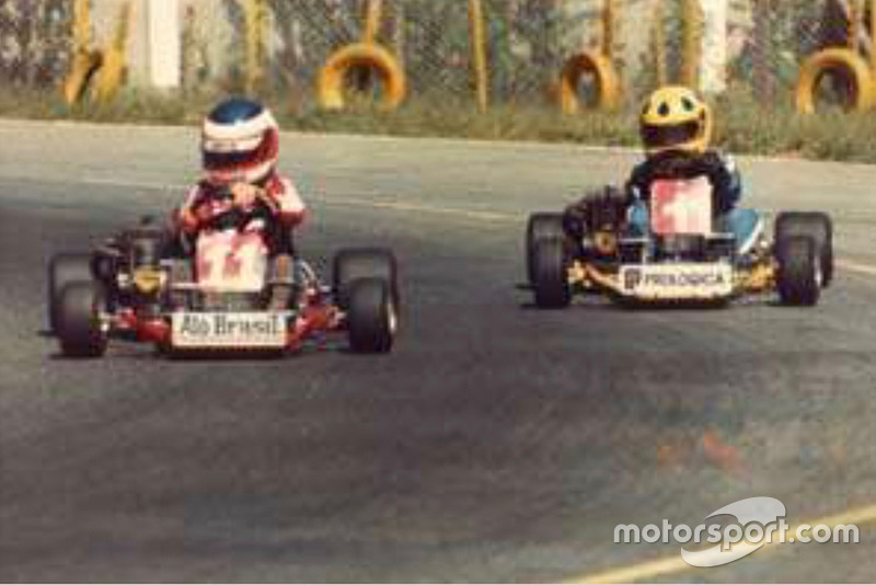 Barrichello e Christian no kart