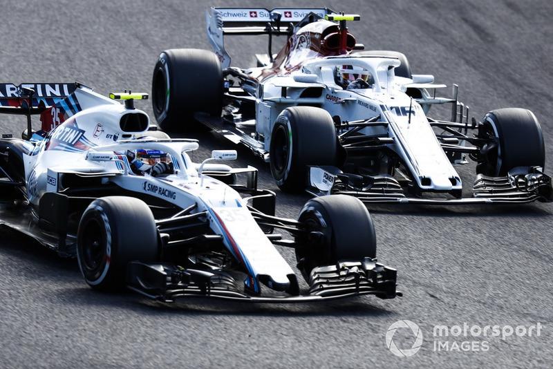 Sergey Sirotkin, Williams FW41, battles with Charles Leclerc, Sauber C37