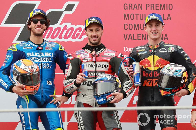 #19 GP de Valencia - Podio: Andrea Dovizioso, Álex Rins, Pol Espargaró