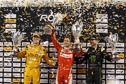 Podium Nations cup: Race winner Sebastian Vettel; second place Team USA-NASCAR with Kyle Busch and Kurt Busch