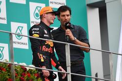 Max Verstappen, Red Bull Racing and Mark Webber, on the podium