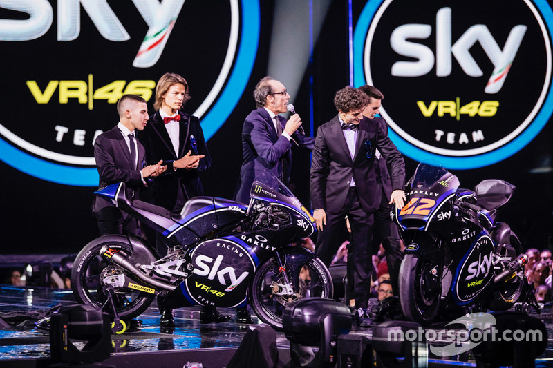 Sky Racing Team VR46 für Moto2 und Moto3 mit Nicolò Bulega, Andrea Migno, Francesco Bagnaia, Stefano Manzi