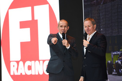 Martin Brundle and Stuart Codling on the F1 Racing stand