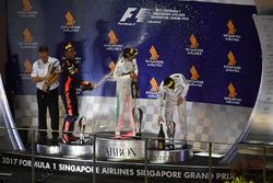 Podium: race winner Lewis Hamilton, Mercedes AMG F1, second place Daniel Ricciardo, Red Bull Racing, third place Valtteri Bottas, Mercedes AMG F1