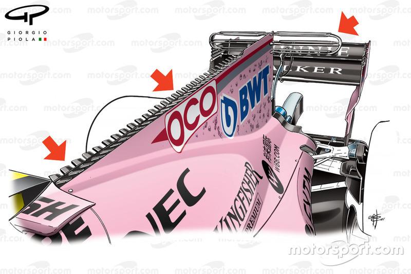 Nueva cubierta de motor en el Force India VJM10, GP de Singapur