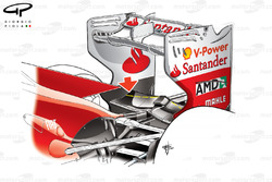 Ferrari F2012 rear beam wing detail, note dotted yellow line showing difference