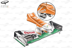 Force India VJM05 nose (FOM camera housing moved from hammerhead position to between the wing pillars) and turning vanes mounted under chassis rather than on the nose