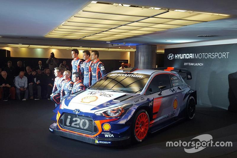 Dani Sordo, Hayden Paddon, John Kennard, Marc Marti, Nicolas Gilsoul, Thierry Neuville bei der Vorstellung des Hyundai i20 Coupe WRC