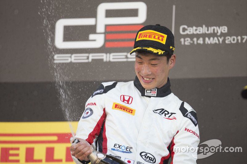 Winner Nirei Fukuzumi, ART Grand Prix on the podium