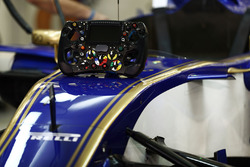 Steering wheel on the nose of the car of Marcus Ericsson, Sauber C36