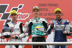 Podium: second place John McPhee, British Talent Team, race winner Joan Mir, Leopard Racing, third place Jorge Martin, Del Conca Gresini Racing Moto3