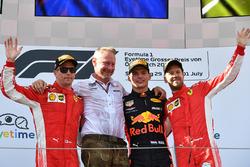 Podium: race winner Max Verstappen, Red Bull Racing, second place Kimi Raikkonen, Ferrari, third place Sebastian Vettel, Ferrari