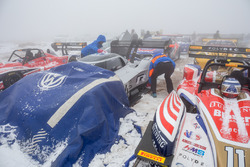 The #94 Volkswagen I.D. R Pikes Peak is covered during snow