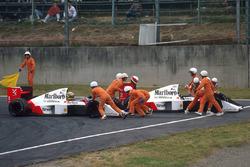 Ayrton Senna, McLaren MP4/5 Honda e Alain Prost, McLaren MP4/5 Honda si scontrano