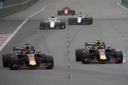 Daniel Ricciardo, Red Bull Racing RB14 Tag Heuer, Max Verstappen, Red Bull Racing RB14 Tag Heuer, Charles Leclerc, Sauber C37 Ferrari, and Lance Stroll, Williams FW41 Mercedes