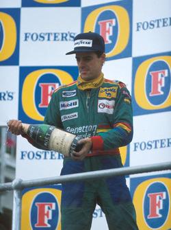Podium: second place Alessandro Nannini, Benetton