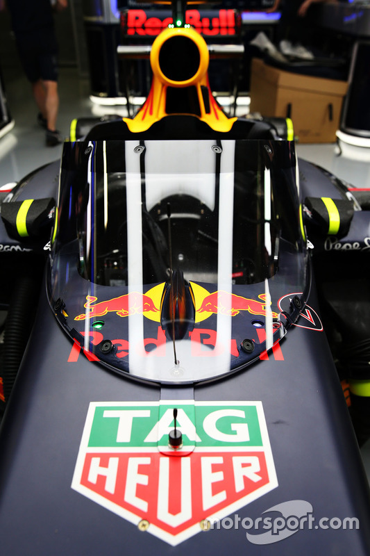 The Red Bull Racing RB12 fitted with the Aero Screen