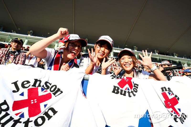 Jenson Button, McLaren fans in the grandstand