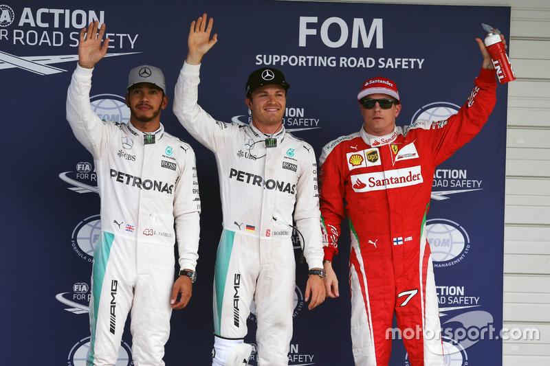 Polesitter Nico Rosberg, 2. Lewis Hamilton, 3. Kimi Räikkönen