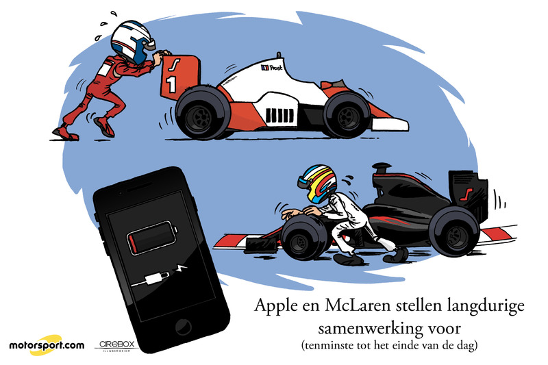 Cartoon van Cirebox - Apple en McLaren
