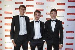 George Russell, Campione della GP3, Lando Norris, test driver McLaren e Charles Leclerc, Campione della F2