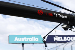 A Haas F1 logo on the team's pit gantry
