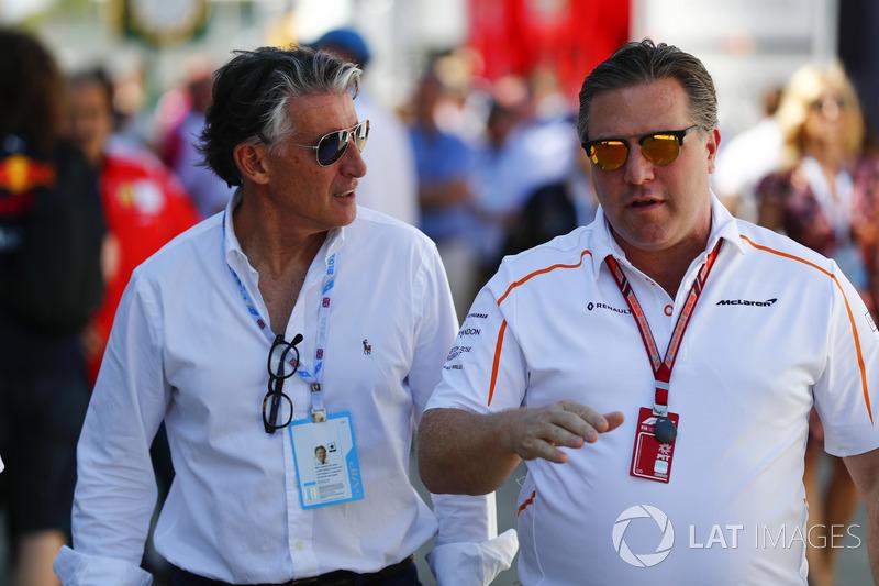 Lord Sebastian Coe, Zak Brown, McLaren Racing CEO