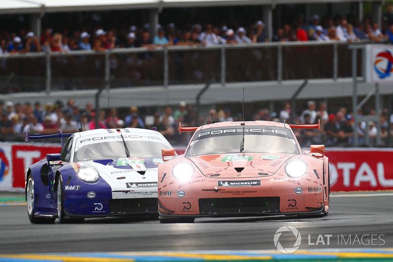 #92 Porsche GT Team Porsche 911 RSR: Michael Christensen, Kevin Estre, Laurens Vanthoor, #91 Porsche GT Team Porsche 911 RSR: Richard Lietz, Gianmaria Bruni, Frédéric Makowiecki