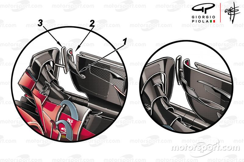 Endplate del alerón delantero del Ferrari SF71H