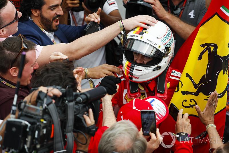 Sebastian Vettel, Ferrari, celebra el triunfo en el GP de Canadá 2018