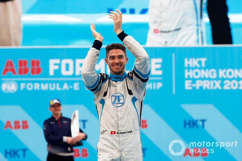 Edoardo Mortara, Venturi Formula E, celebrates on the podium