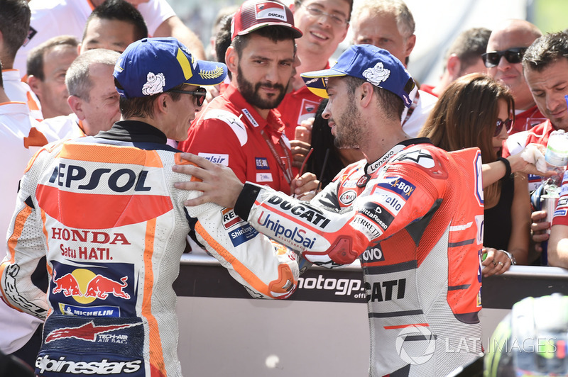 Il secondo classificato Marc Marquez, Repsol Honda Team, il terzo classificato Andrea Dovizioso, Ducati Team