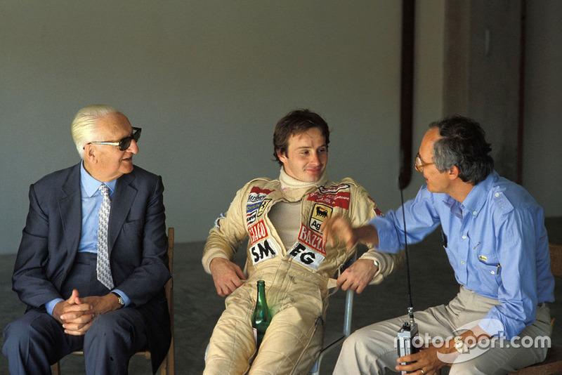 Enzo Ferrari, Gilles Villeneuve, Ferrari y Roberto Nosetto