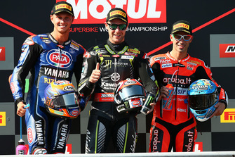 Podium: race winner Jonathan Rea, Kawasaki Racing, second place Michael van der Mark, Pata Yamaha, third place Marco Melandri, Aruba.it Racing-Ducati SBK Team