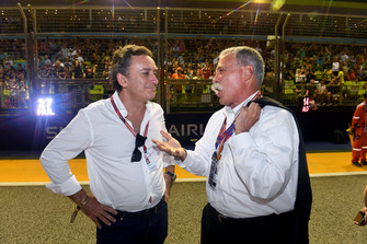 Alejandro Agag, CEO Formula E with Chase Carey, Chief Executive Officer and Executive Chairman of the Formula One Group on the grid
