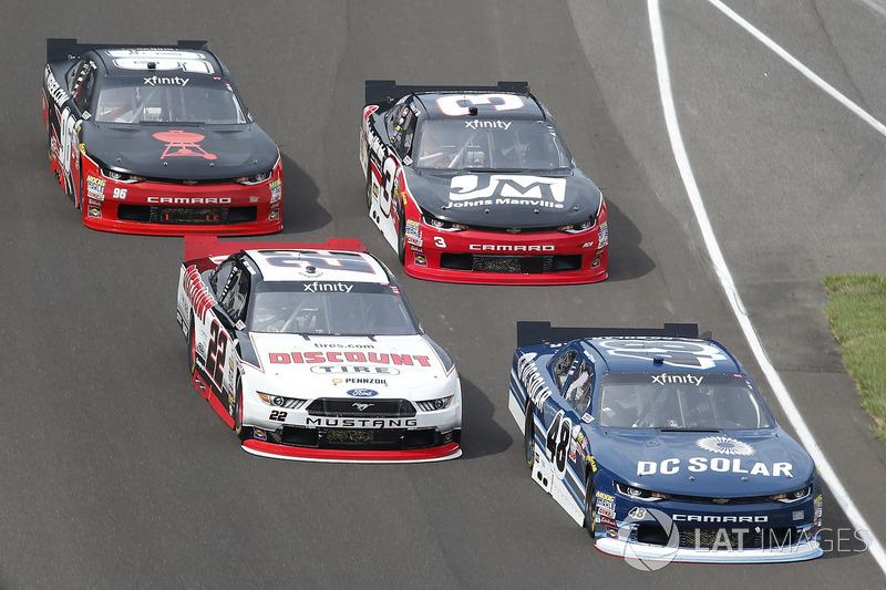 Brennan Poole, Chip Ganassi Racing Chevrolet, Joey Logano, Team Penske Ford