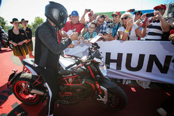 Lewis Hamilton, Mercedes AMG F1 on his MV Agusta Dragster RR LH44 Limited Edition motorbike
