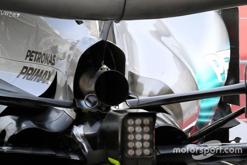 Valtteri Bottas, Mercedes AMG F1 W08 avec des capteurs aéro