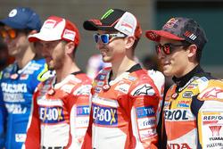 Alex Rins, Team Suzuki MotoGP; Andrea Dovizioso, Ducati Team; Jorge Lorenzo, Ducati Team; Marc Marquez, Repsol Honda Team